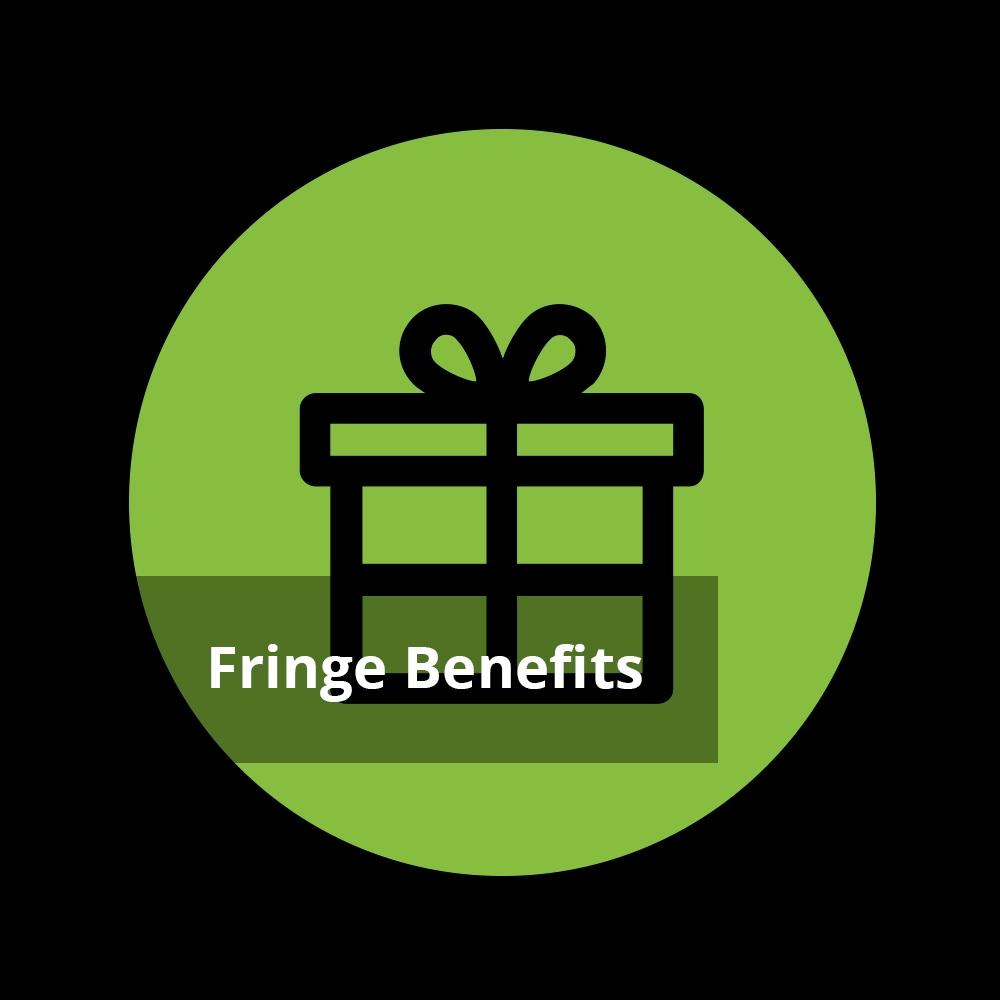 Geschenke Icon mit Text 'Fringe Benefits'