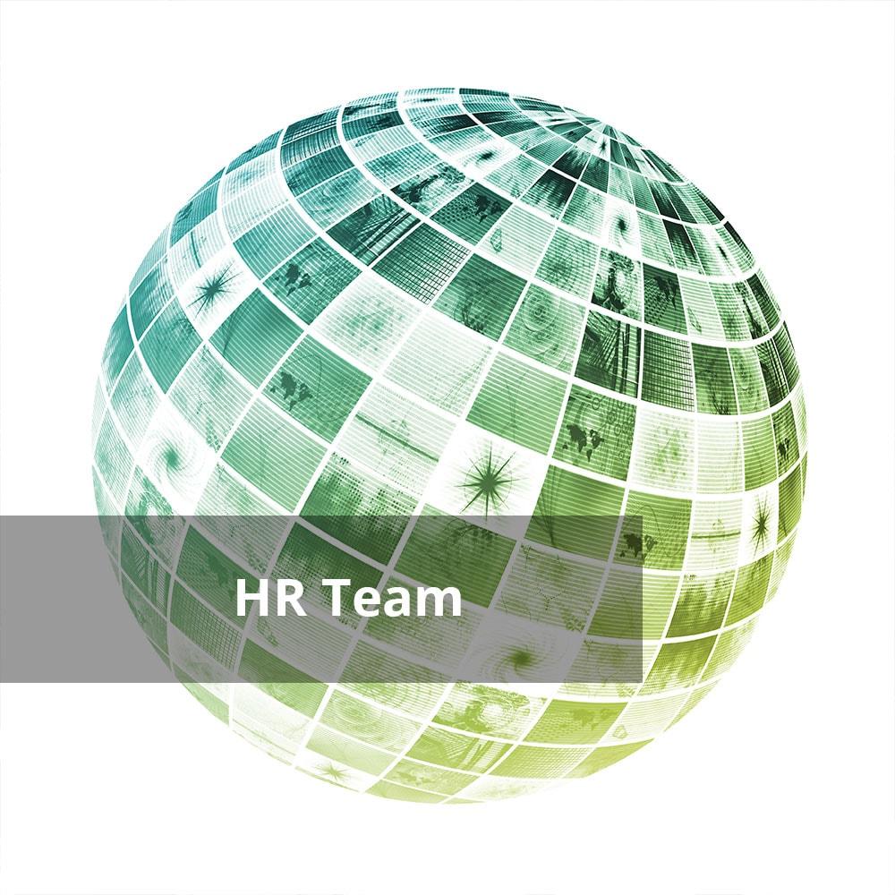 Weltkugel mit Bildern mit Text 'HR Team'