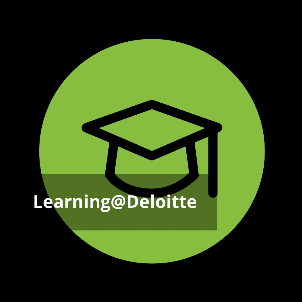 Absolventenhut Icon mit Text 'Learning@Deloitte'