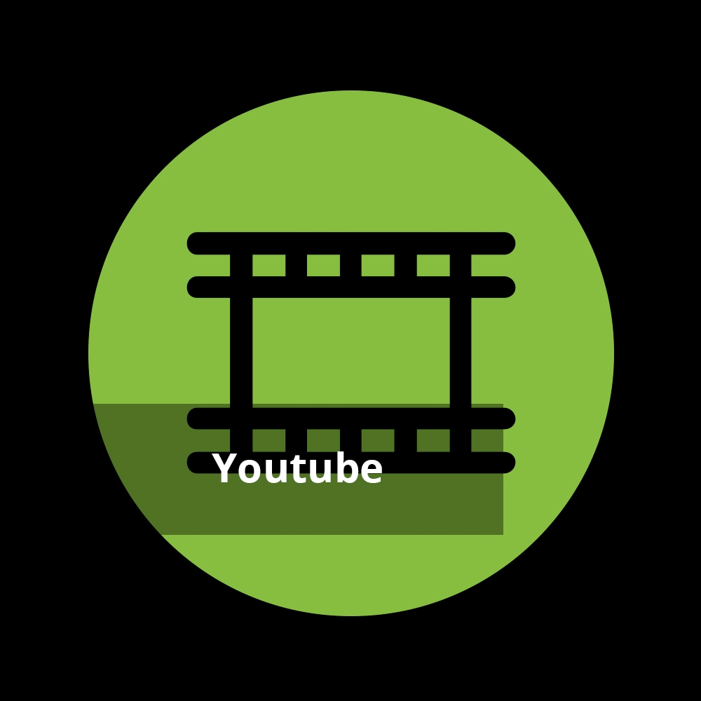 Filmband Icon mit Text 'Youtube'