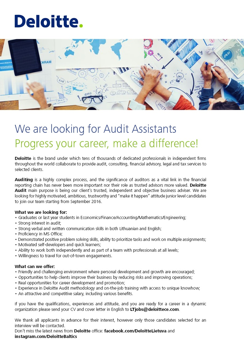 We are looking for Audit Assistants | Deloitte Lithuania
