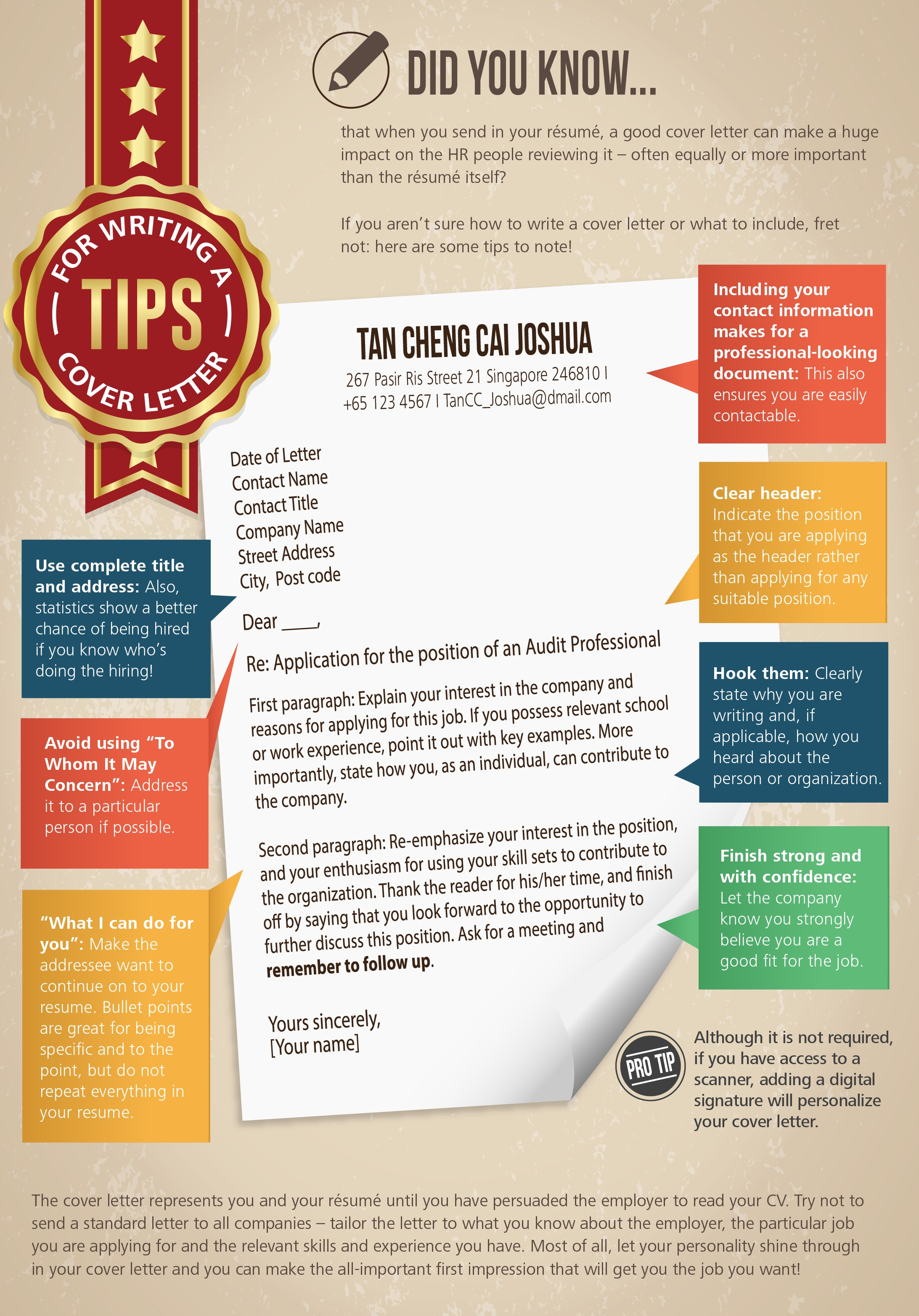 Tips For Writing A Cover Letter  Cover Letter Job Application Example
