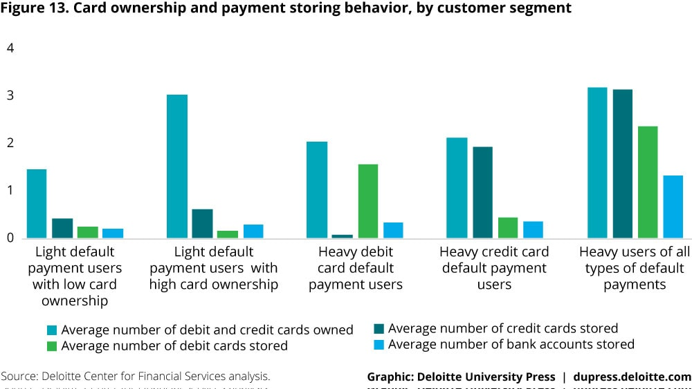 Figure 13. Card ownership and payment storing behavior, by customer segment
