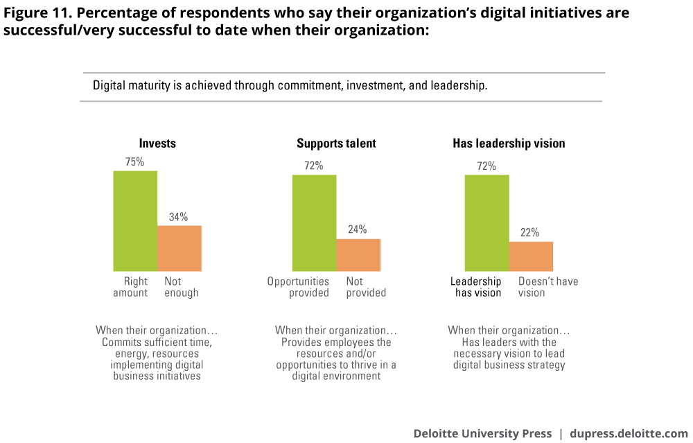 Percentage of respondents who say their organization's digital initiatives are successful/very successful to date when their organization: