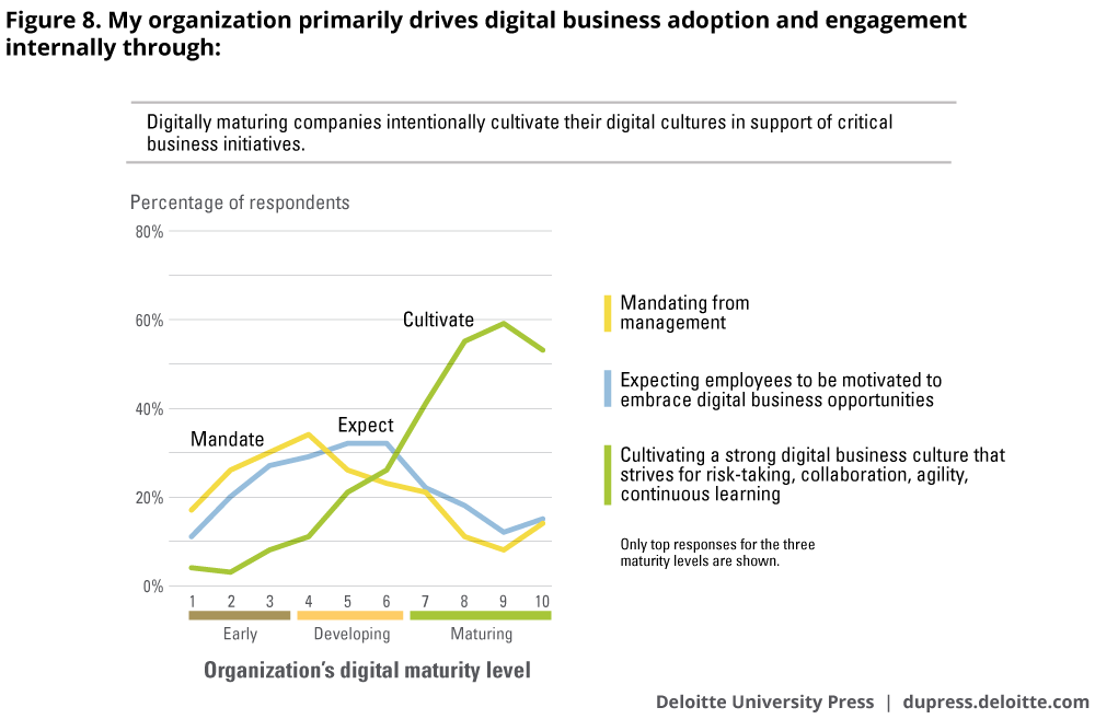 My organization primarily drives digital business adoption and engagement internally through: