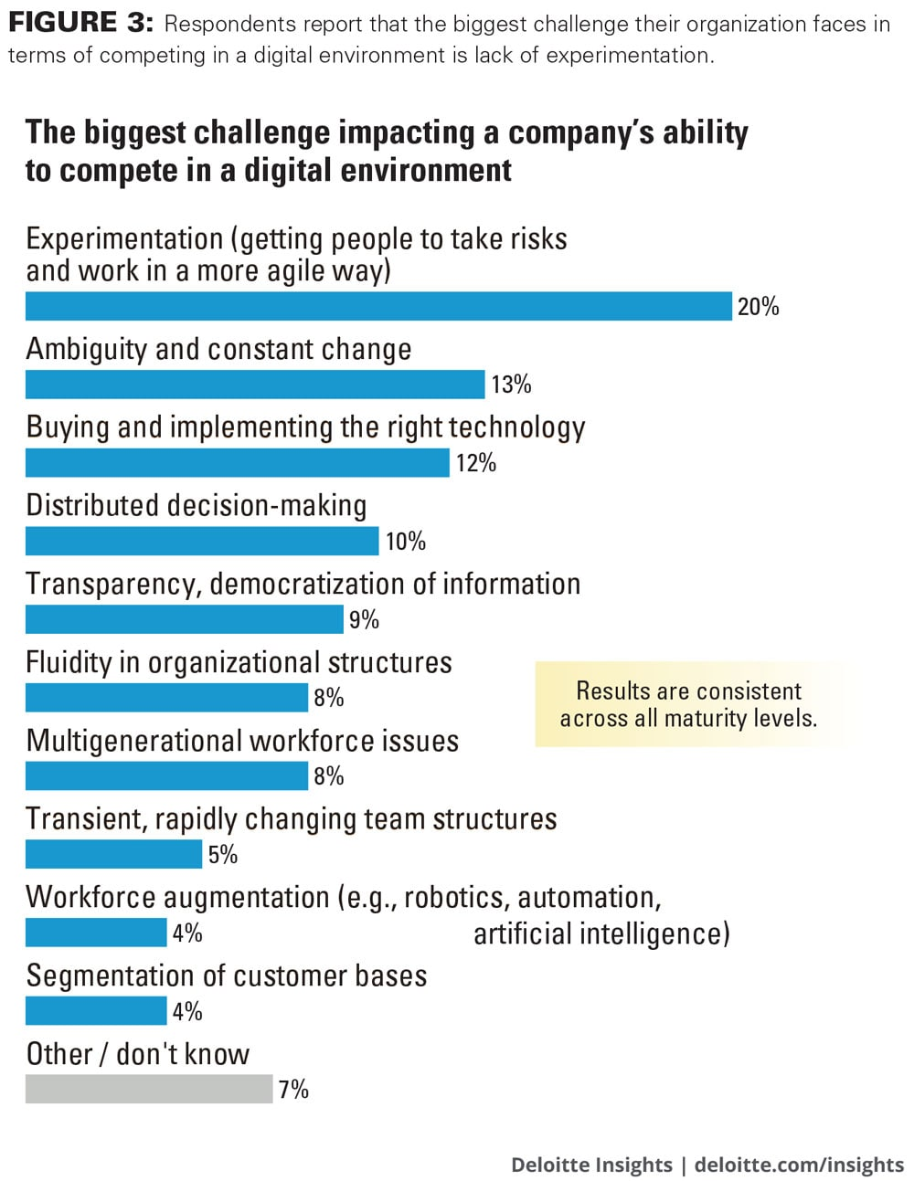 Respondents report that the biggest challenge their organization faces in terms of competing in a digital environment is lack of experimentation.
