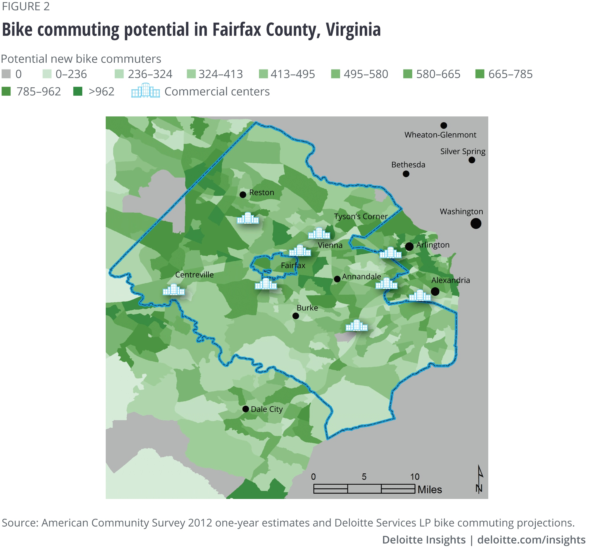 Bike commuting potential in Fairfax County, Virginia
