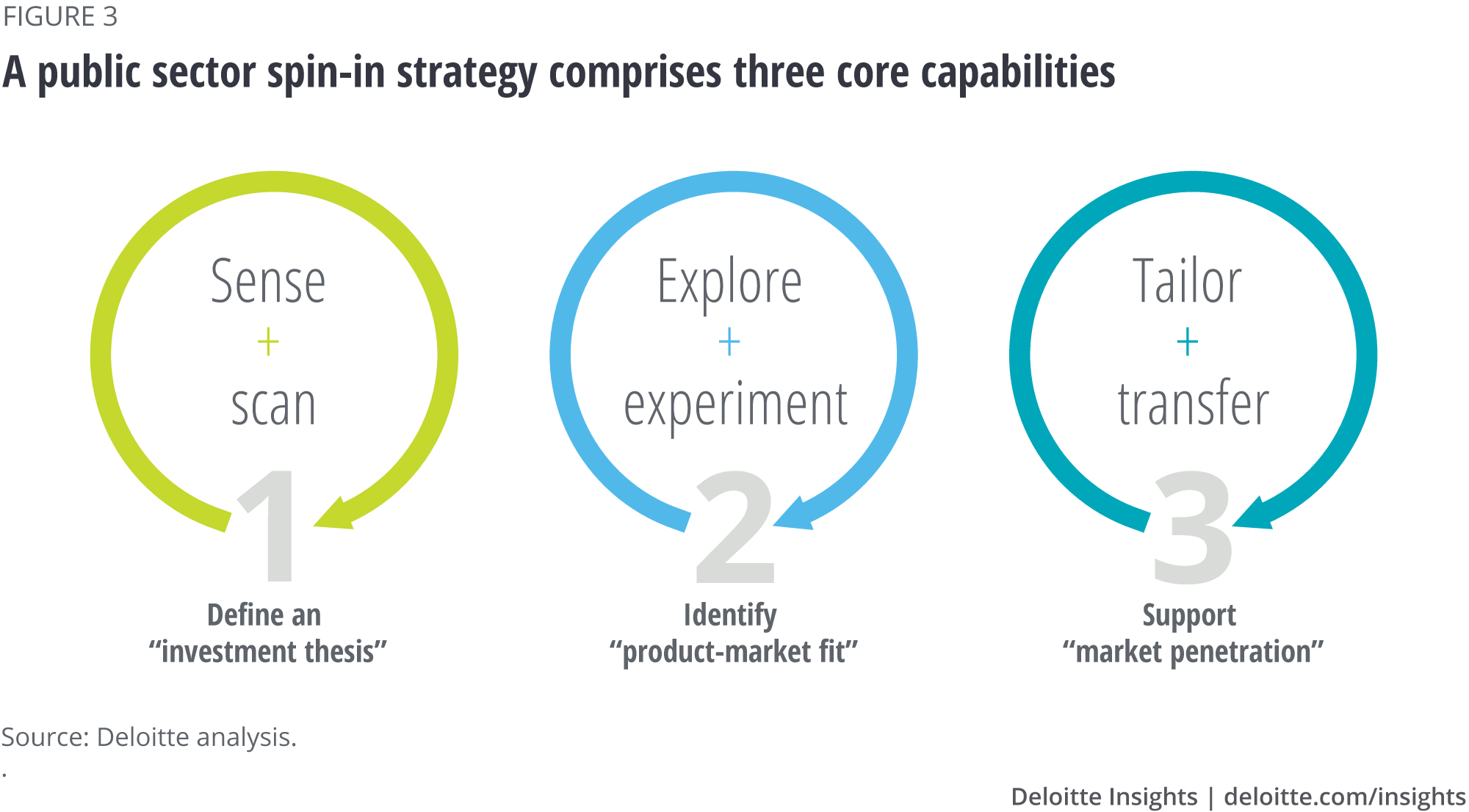 A public sector spin-in strategy comprises three core capabilities