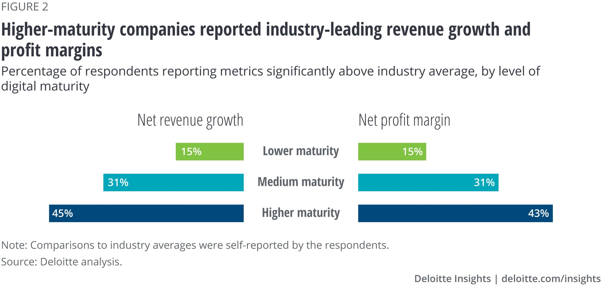 Higher-maturity companies were more likely to report industry-leading net revenue growth and net profit margins