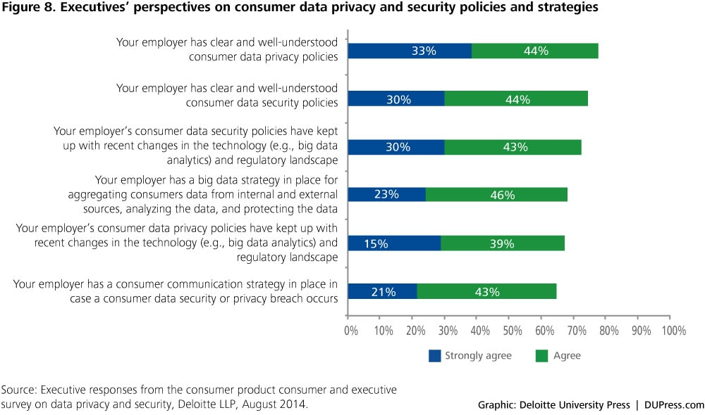Figure 8. Executives' perspectives on consumer data privacy and security policies and strategies