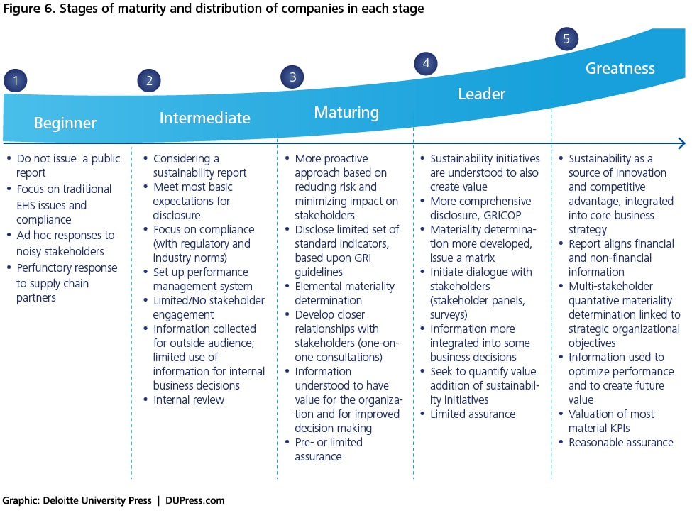 Figure 6. Stages of maturity and distribution of companies in each stage