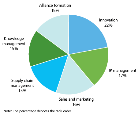 Alliance formation 15%, Knowledge management 15%, Supply chain management 15%, Sales and marketing 16%, IP management 17%, Innovation 22%