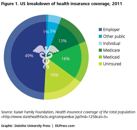 Figure 1. US breakdown of health insurance coverage, 2011