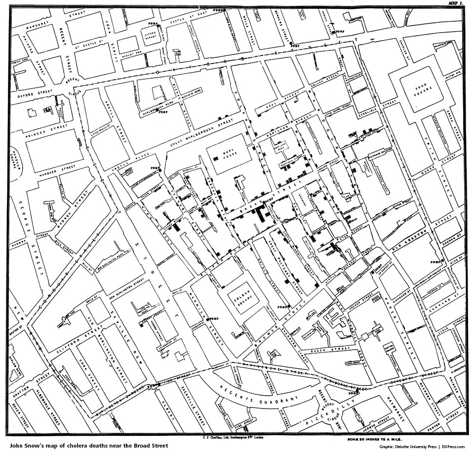 John Snow's map of cholera deaths near the Broad Street Pump