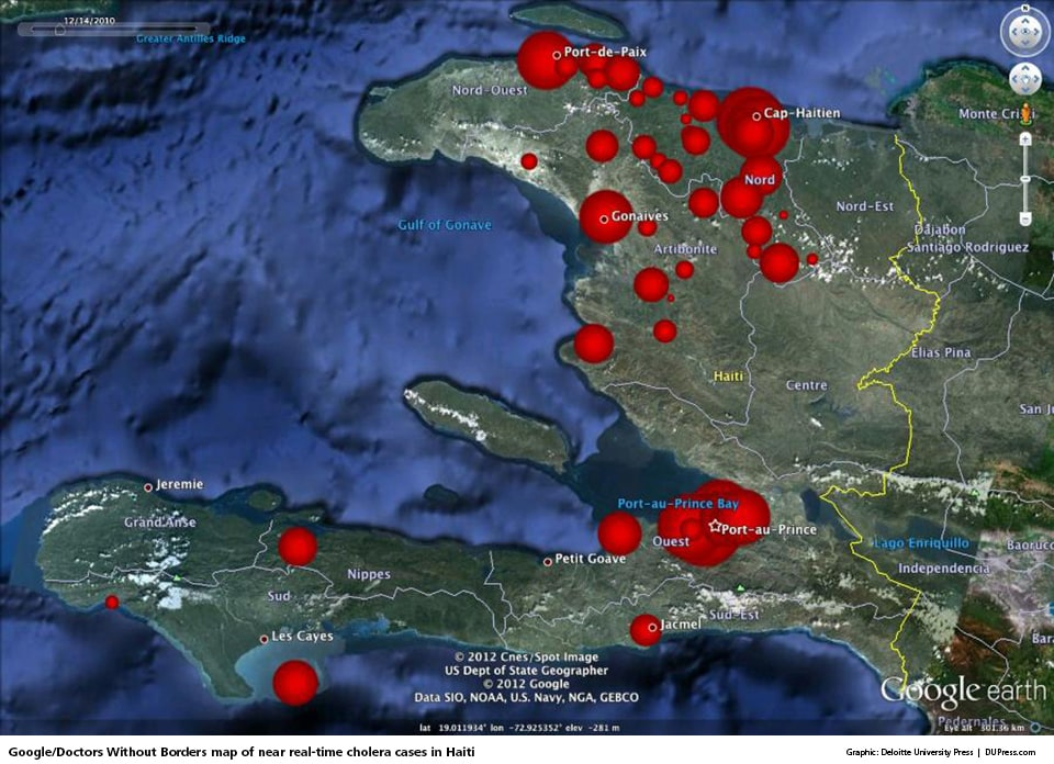 Google/Doctors Without Borders map of near real-time cholera cases in Haiti